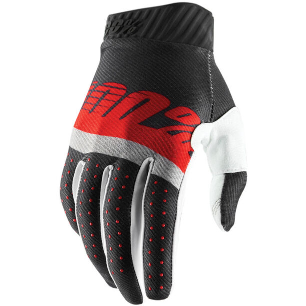 100% Ridefit FA18 Gloves steel grey/red