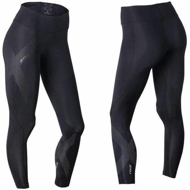 2XU Mid-Rise Compression Tights long Damen black/dotted reflective logo