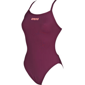arena Solid Light Tech High One Piece Swimsuit Damen red wine-shiny pink red wine-shiny pink