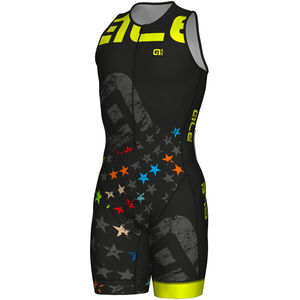 Alé Cycling Long Triathlon Stelle Skinsuit Herren black-fluo yellow black-fluo yellow