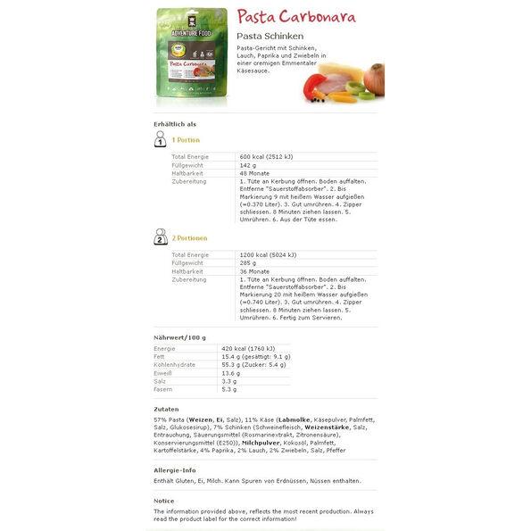 Adventure Food Single Portion 138g Pasta Carbonara