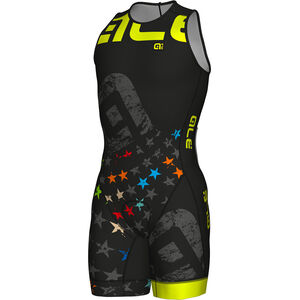 Alé Cycling Olympic Triathlon Stelle SS Skinsuit Herren black-fluo yellow black-fluo yellow