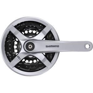Shimano FC-TY501 Kurbelgarnitur 6/7/8-fach 48-38-28 Zähne mit Kettenschutzring silber silber