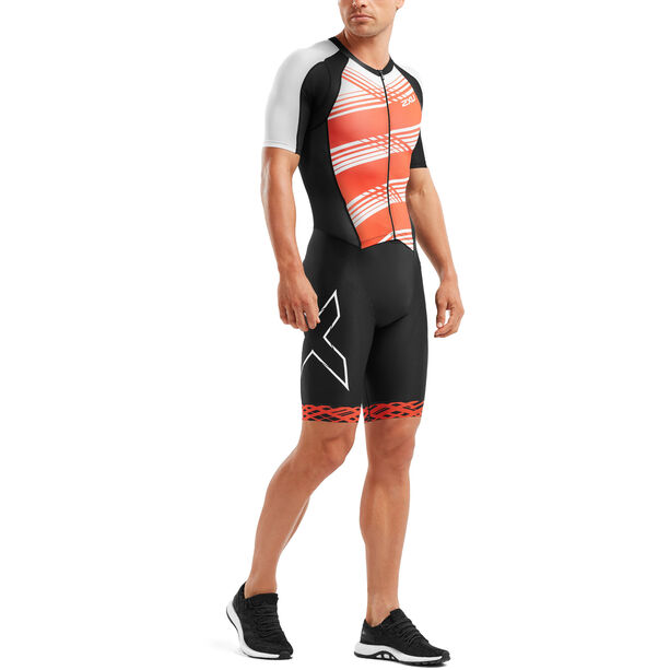 2XU Compression Full-Zip Sleeved Trisuit Herren black/white flame lines
