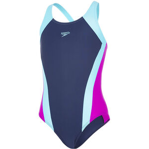 speedo Contrast Panel Splashback Swimsuit Mädchen navy/turquoise/diva navy/turquoise/diva
