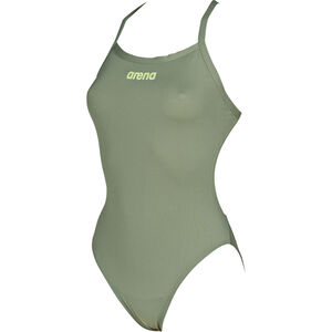 arena Solid Light Tech High One Piece Swimsuit Damen army-shiny green army-shiny green