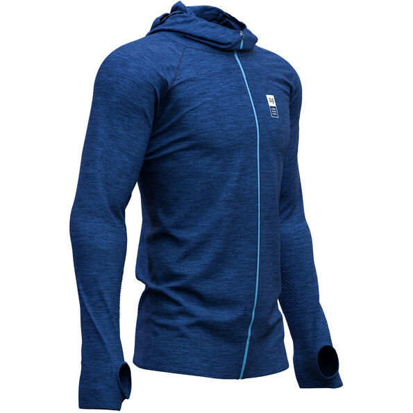 Compressport 3D Mont Blanc 2019 Thermo Seamless Hoodie Zip blue
