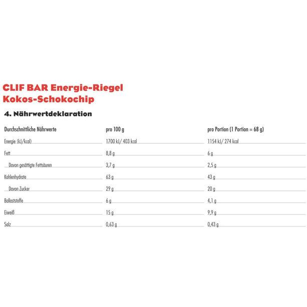 CLIF Bar Energy Riegel Box 12x68g Coconut Chocolate Chip