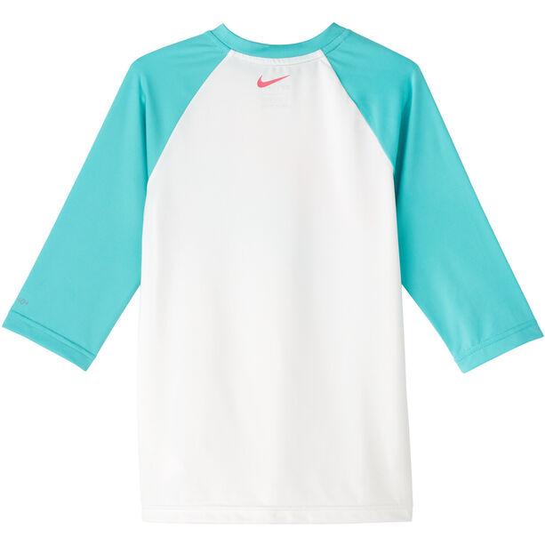 Nike Swim Iridecent Swoosh Kurzarm Hydroguard Shirt Mädchen white
