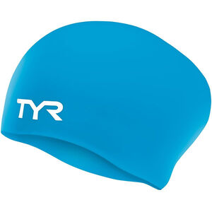 TYR Wrinkle-Free Silicone Long Hair Swimming Cap Kinder blue blue