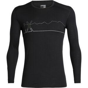 Icebreaker 200 Oasis Single Line Ski Langarm Rundhalsshirt Herren black black