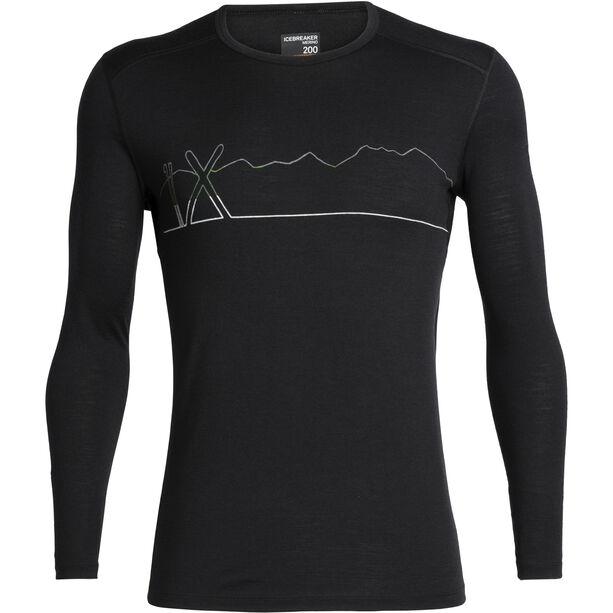 Icebreaker 200 Oasis Single Line Ski Langarm Rundhalsshirt Herren black