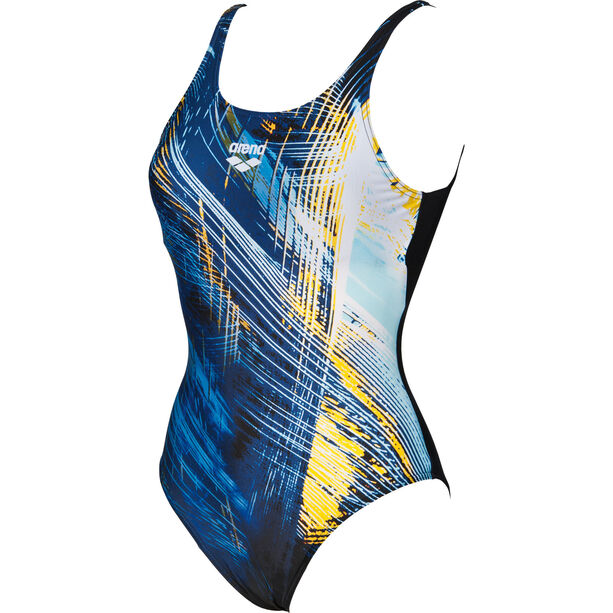 arena Icy U Back One Piece Swimsuit Damen black-lily yellow