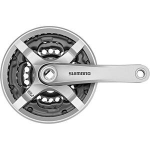 Shimano FC-TY501 Kurbelgarnitur 6/7/8-fach 42-34-24 Zähne mit Kettenschutzring silber silber