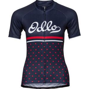 Odlo Fujin Print Stand-Up Collar SS Full-Zip Shirt diving navy-fiery red-retro