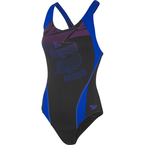 speedo Boom Placement Racerback Swimsuit Damen black/blue