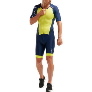 2XU Perform Full-Zip Sleeved Trisuit Herren navy/limeade navy/limeade