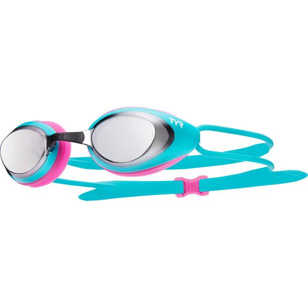 TYR Black Hawk Racing Mirrored Goggles Damen silver/turq/pink