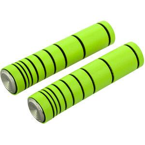 absoluteBLACK Dual Density MTB Silikon Griffe mit Alu Lenkerstopfen lime green lime green