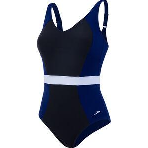 speedo CrystalGleam 1 Piece Swimsuit Women Black/Deep Indigo/White