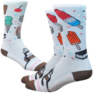 "DeFeet Aireator 6"" Socks iSCREAM (White/Brown/Pink)"