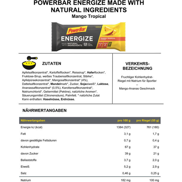 PowerBar Energize Made with Natural Ingredients Riegel Box 25x55g Mango Tropical