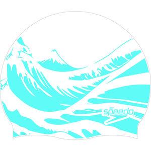 speedo Slogan Print Schwimmkappe white/blue white/blue