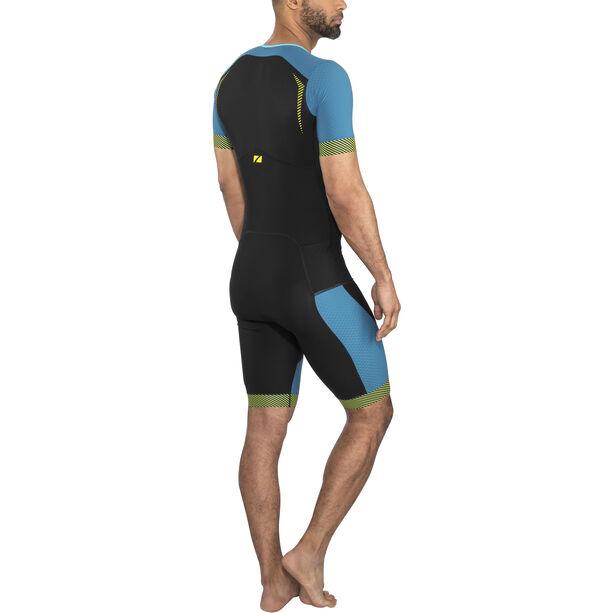 Zone3 Aeroforce SS Front Zip Trisuit Herren black/teal/yellow