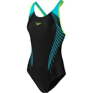 speedo Fit Laneback Swimsuit Damen black/aquasplash/bright zest