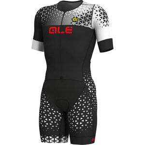 Alé Cycling Rush Tri SS Unitard Long Herren black-white black-white