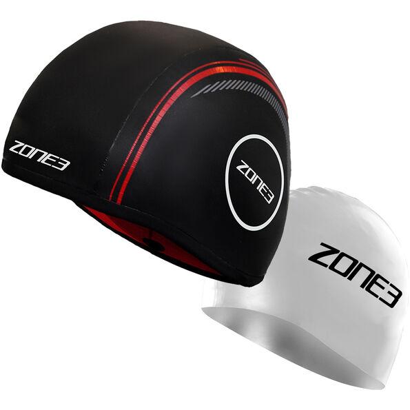 Zone3 Neoprene Strapless Schwimmkappe black/red