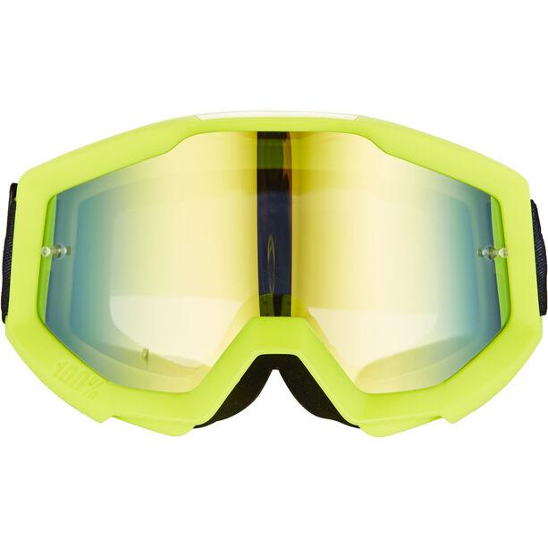 100% Strata Goggles neon yellow-mirror