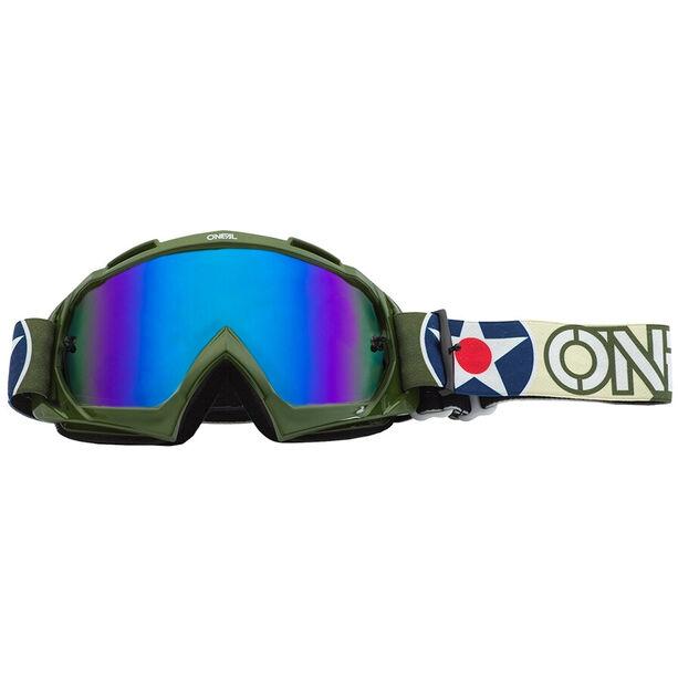O'Neal B-10 Goggles warhawk green/sand-radium blue