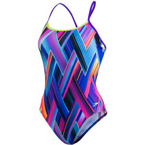 speedo Fizzbounce Single Crossback Swimsuit violet/limepunch/turquoise