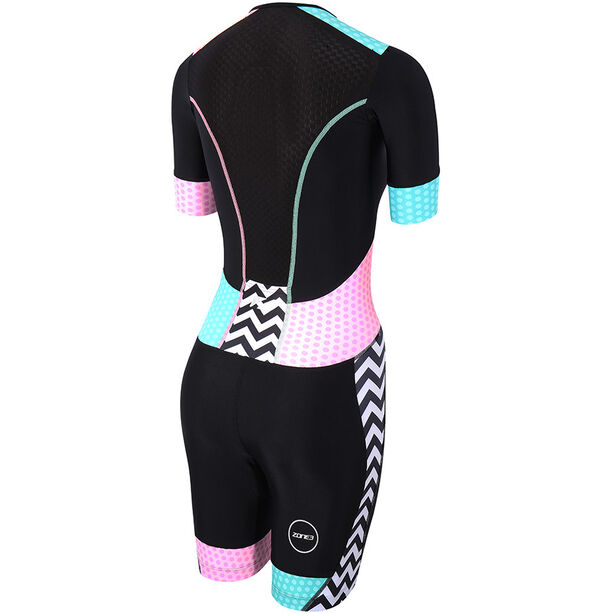 Zone3 Activate Plus SS Trisuit Damen zebra fly-black/green/pink/white