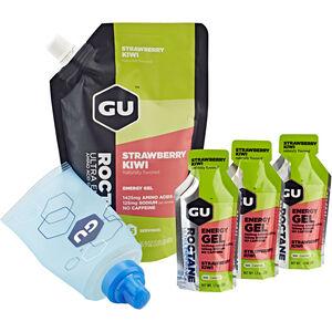 GU Energy Roctane Energy Gel Bundle Beutel 480g + Gel 3x32g + Flask Strawberry Kiwi