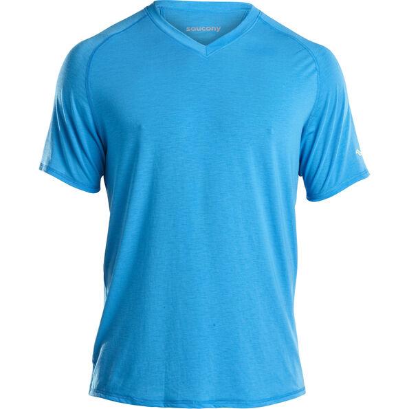 saucony Freedom V-Neck Shirt Men Blue Aster