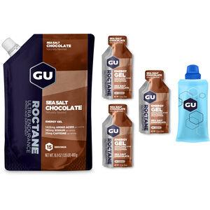 GU Energy Roctane Energy Gel Kombipaket Beutel 480g + Gel 3x32g + Flask Sea Salt Chocolate