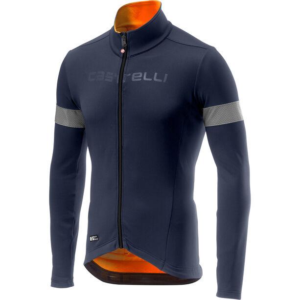 Castelli Nel Mezzo Rain Or Shine Langarm Trikot Herren dark steel blue/orange