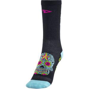 """DeFeet Aireator 5"""" Single Cuff Socken sugar skull (schwarz/hellblau) sugar skull (schwarz/hellblau)"""
