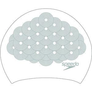 speedo Long Hair Printed Schwimmkappe white/chrome white/chrome