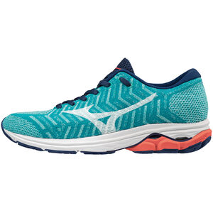 Mizuno Waveknit R2 Shoes Damen peacock blue/white/hot coral peacock blue/white/hot coral