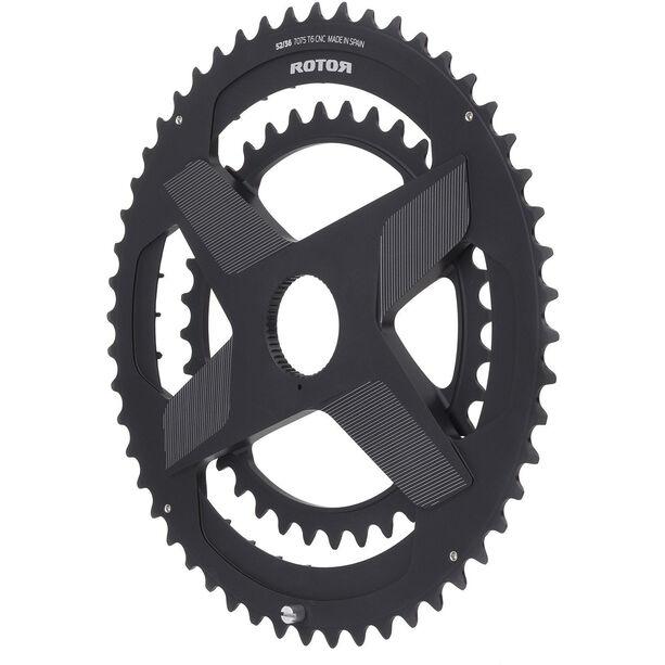 Rotor Aldhu Direct-Mount Doppel-Kettenblatt Rund schwarz/matt