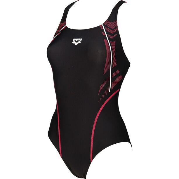 arena Energy Swim-Pro One Piece Swimsuit Damen black-fluo red