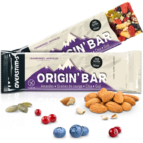 OVERSTIM.s Origin Riegel Box 6x40g Cranberries Blueberries