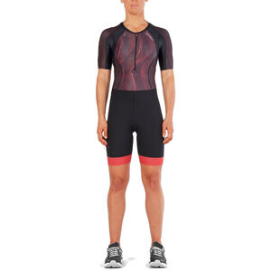 2XU Compression Sleeved Trisuit Women black/vertical curve watermelon