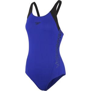 speedo Boom Splice Muscleback Swimsuit Damen blue/black blue/black