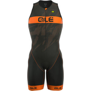 Alé Cycling Triathlon Long Record Tri Body Front Zipper Herren black-fluo orange black-fluo orange