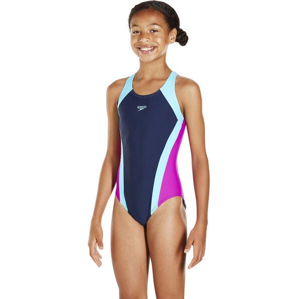 speedo Contrast Panel Splashback Swimsuit Mädchen