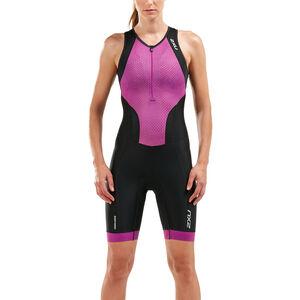 2XU Perform Front Zip Trisuit Damen black/very berry mesh print black/very berry mesh print